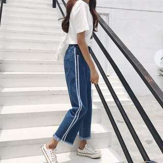 Striped wide leg jeans (blue- S)