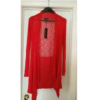 Red Long Sleeve Crochet Cardigan