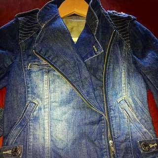 Forever New Biker Denim Jacket Size 6-8