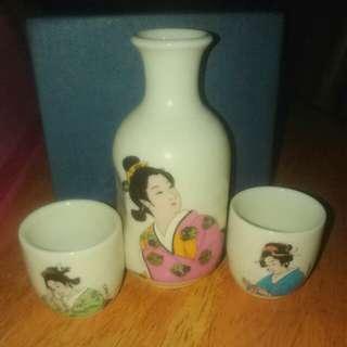 Antiq geisha lady tea set