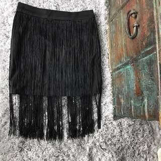Black Fringe Mini Skirt Size S