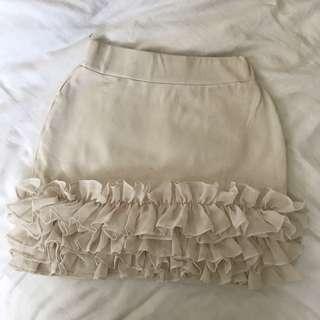 Forever New Tight Frill Skirt Cream