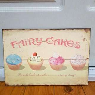 "Fairy Cakes metal sign 11.5"" x 8"""