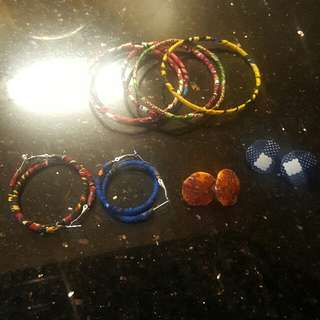 African Print Bangles And Earrings
