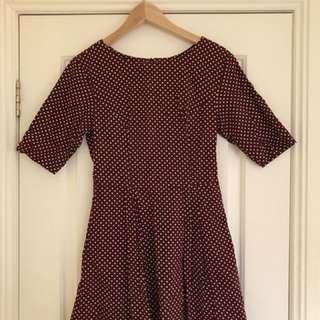 Cute Maroon Polkadot Dress