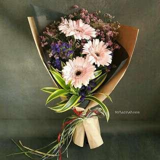 Fresh Flower 🌼🌸 Gerbera Daisy Bouquet - Pink Flora