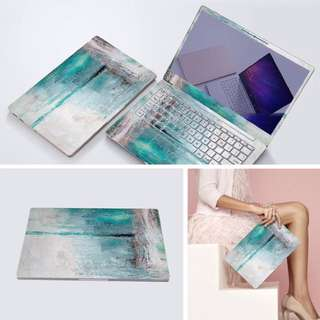 Grey x green Abstract Laptop Decal Sticker Skin