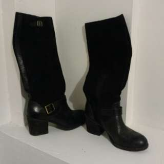 Knee high leather+suede boots with buckle