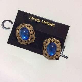 日本古著店帶回🎀復古寶石藍耳環