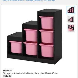 Trofast dispenser with bins