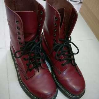 Dr. Martens紅色 十孔 馬汀鞋 #含運最划算