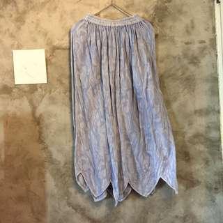 純棉織紋特殊下擺長裙 鬆緊腰頭 透氣 水洗水藍色 二手 便宜賣