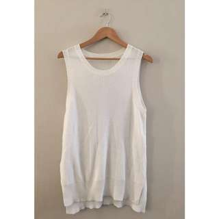 Minimal White Knit Top Sleeveless Oversized