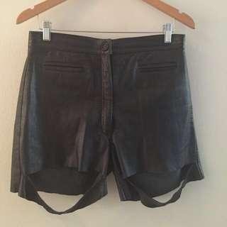 Amazing Vintage Leather Slashed Cut Out Shorts