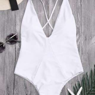 White Backless One Piece
