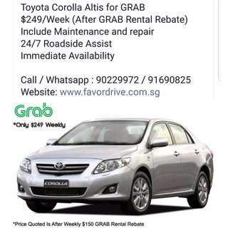Toyota Altis $249 Weekly - No Gimmicks, No Hidden Cost, GRAB Exclusive Car Rental Deal