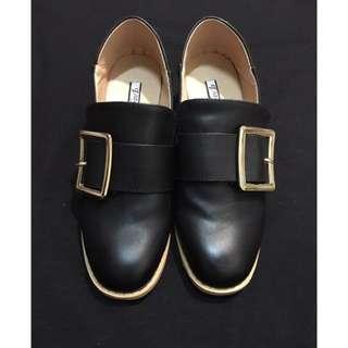 黑色低跟樂福鞋