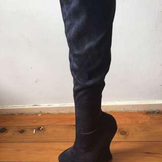 ZU navy wedge boots