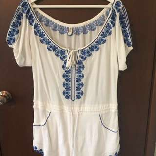 #playsuitsale Spell & The Gypsy Collective Santorini Embroidered Romper in White