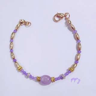 手作 紫水晶 紫玉髓 手鍊(愛的守護石)