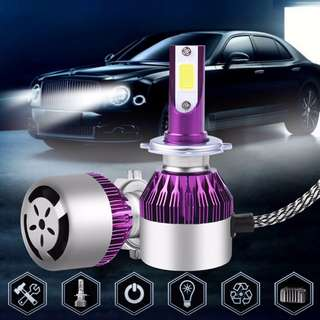 GAD0285PU - Brand New 2 x COB LED H7 Car DRL Headlight 100W Lamp White Light HID Bulb 6000K Kit Diamond Purple