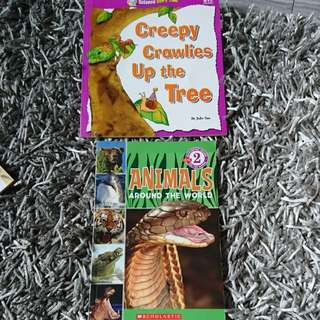 Scholastic and pelangi science books animals around the world and creepy crawlies up the tree