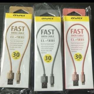 全新AWEI iPhone Lighting USB快速充電線