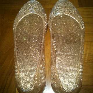 Gold Color Jelly Shoes (Size 36 or 37)