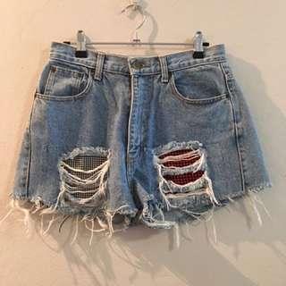 Vintage High Waisted Distressed Denim Shorts
