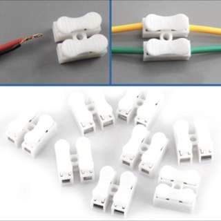 5pcs Cable Connectors Wire Connectors Splice With Clamp Terminal T10A 220V 2 Pin Quick Wire White Wiring Adaptor Terminal