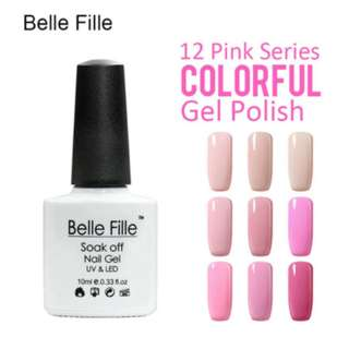BELLE FILLE UV Nail Gel Polish Angel Pink Gel Nail Polish for French Manicure Sweet Lover Nail Varnish Soak Off Gel Lacquer