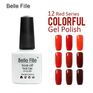 BELLE FILLE Color Gel Polish Nail Gel Polish Rose Red Series Wine Red UV Gel Varnish fingernail polish vernis semi permanent