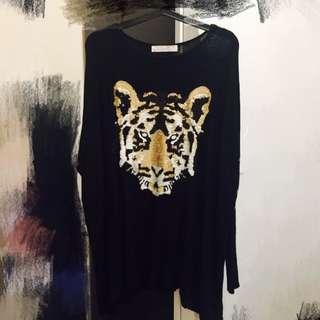豹紋亮片針織長袖衣