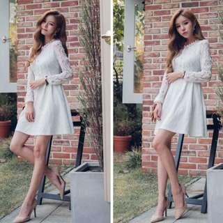 WHITE LACE DRESS (M SIZE)