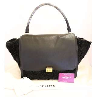 90% New CELINE Trapeze 黑色 牛皮 配羊毛 購物袋 手挽袋 手袋 Leather with Wool In Black