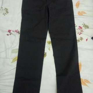 Lativ  彈性修身直筒褲(30 黑灰-女)