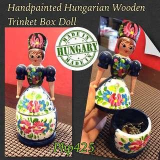 (Hungary) Hungarian FolkArt Souvenir: Wooden Trinket Doll Box