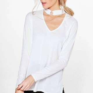 BLACK long sleeve choker top