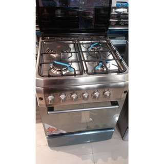 Markes stainless top inox side panel gas range oven semi cast iron 60cm x 60cm model: MGR60SSF