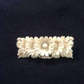 Ivory brooch with detailed carving(hand made)