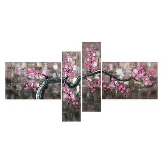 Oversized Floral Cherry Blossom 4 piece Art Canvas