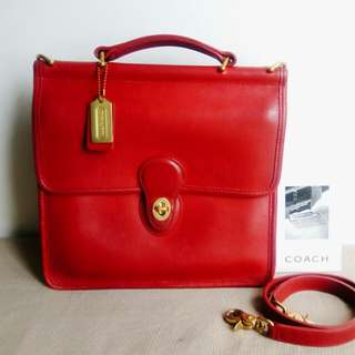 Rare Vintage Coach Classic Red Leather Bag