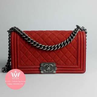 CHANEL LE BOY CAVIAR SUEDE in Red