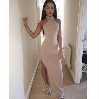 nude halter neck dress