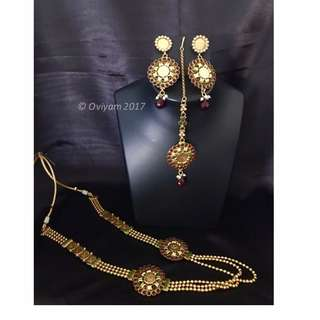Oviyam Jewellery - head accessory, earrings and necklace set - Indian Costume Jewellery - Bollywood