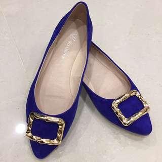 Bo Derek 金框 藍色 麂皮 平底鞋36