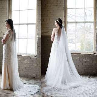 Custom wedding veils in french silk tulle
