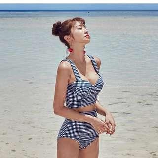 Gingham Print High Waist Bikini *Premium