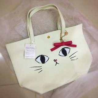 Samantha Thavasa COLORS by Jennifer Sky cat face kitten tote bag