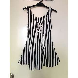 Striped Sleeveless Dress with Lace Up Detail